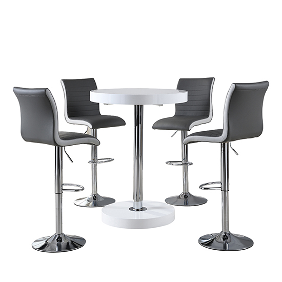 Havana Bar Table In White With 4 Ritz Grey And White Bar Stools_2