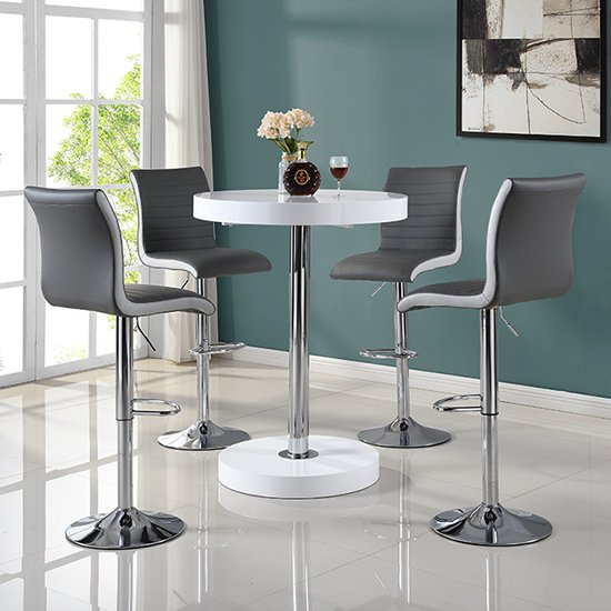 Havana Bar Table In White With 4 Ritz Grey And White Bar Stools_1