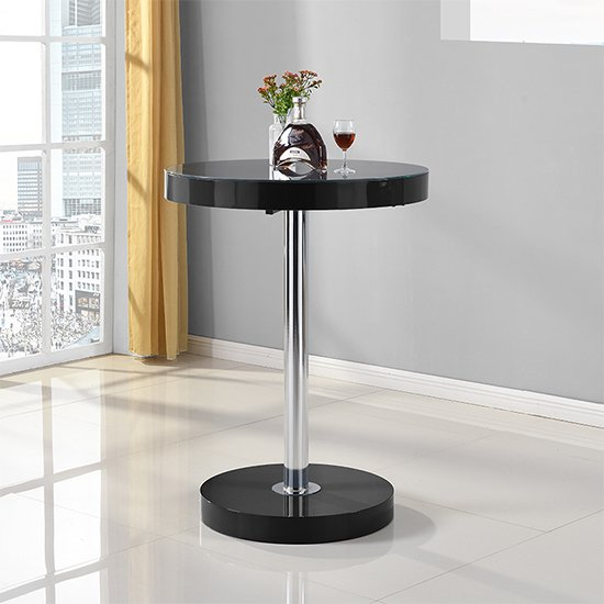 Havana Round Bar Table In Black High Gloss