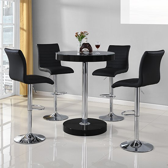 Havana Round Bar Table In Black With 4 Ripple Bar Stools