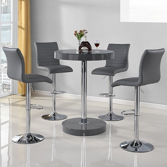 Havana Round Bar Table In Grey With 4 Ripple Bar Stools