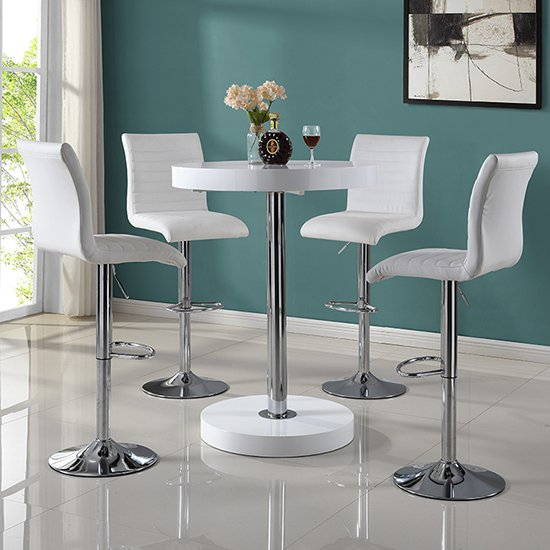 Havana Round Bar Table In White With 4 Ripple Bar Stools