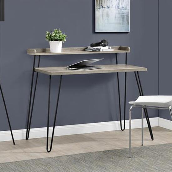 Haven Wooden Laptop Desk With Riser In Distressed Grey Oak