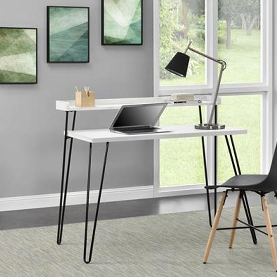 Haven Wooden Laptop Desk With Riser In White