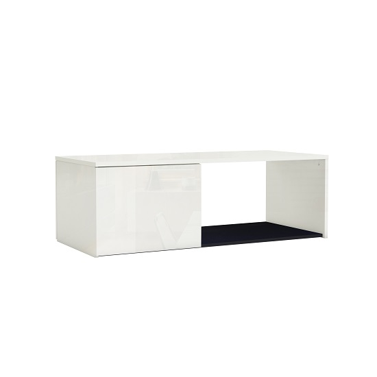 Haven Coffee Table In White With High Gloss Fronts And 1 Door