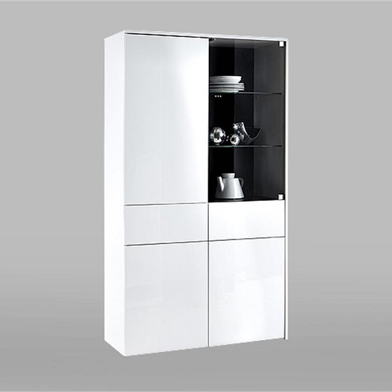 Haven Glass Display Cabinet In White With High Gloss Fronts