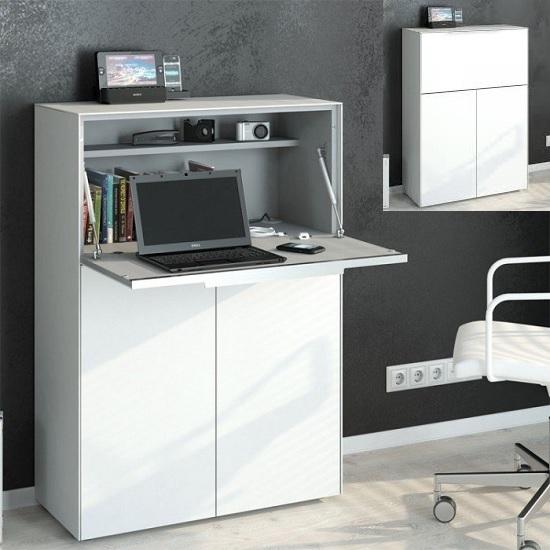 Haven Laptop Desk In Matt White Glass With Storage