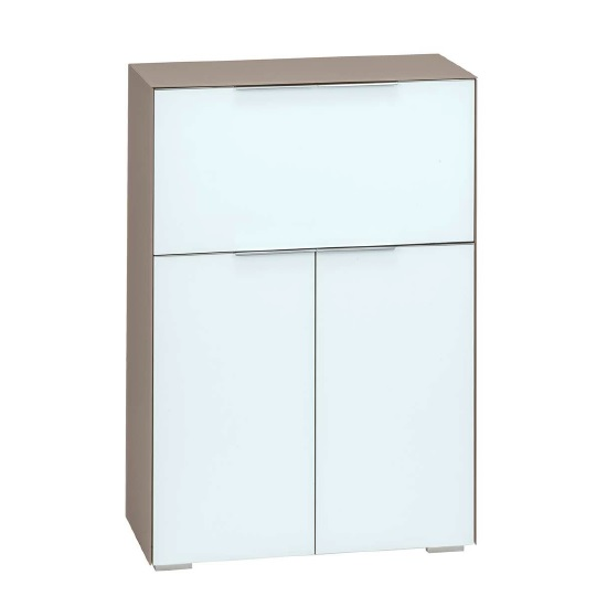 Haven Laptop Desk In Matt Sand And White Glass With Storage