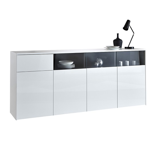 Haven Sideboard In White With Gloss Fronts And 4 Doors