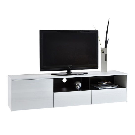 Verona Extendable High Gloss Coffee Table In White 21025: Laura White High Gloss Finish LCD TV Stand With 3 Drawer 229