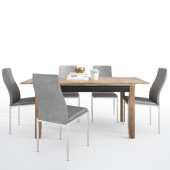 Havoka Extending Dining Table With 6 Mexa Grey Leather Chairs