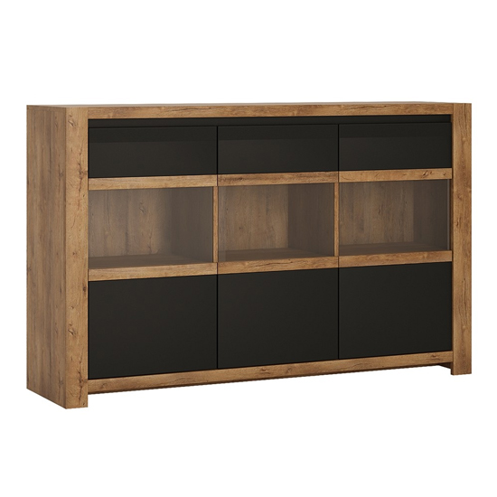 Havoka Wooden 3 Doors Sideboard In Lefkas Oak And Matt Black