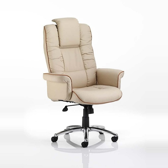 Havza Bonded Leather Executive Chair In Cream With Wheels