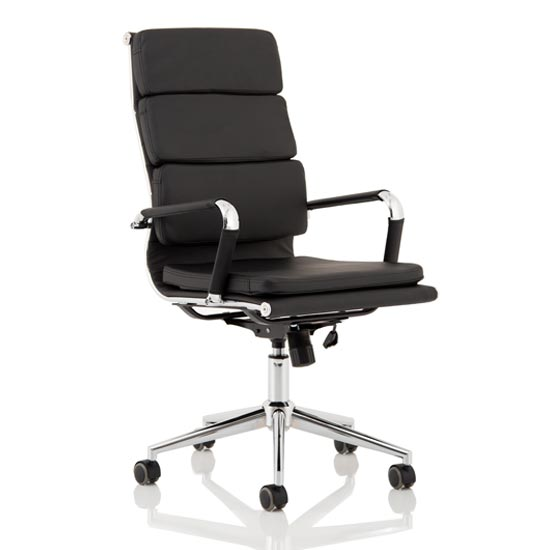 Hawkes Leather Executive Office Chair In Black With Chrome Frame