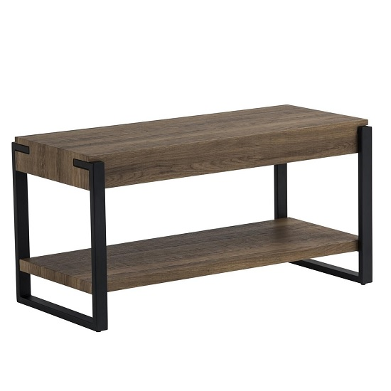 Hawkes Wooden TV Stand In Oak With Black Metal Frame