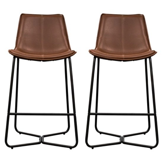 Hawking Brown Leather Bar Stool In Pair