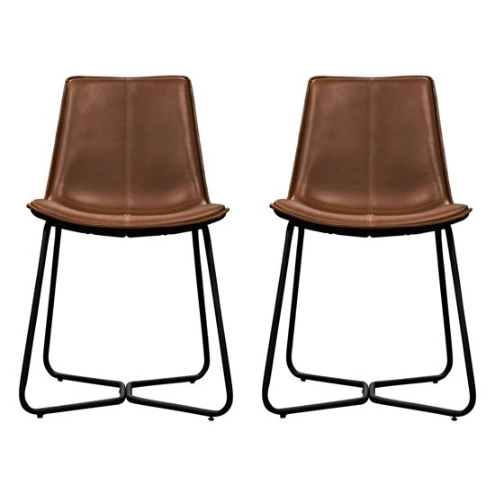 Hawking Brown Leather Bistro Chair In Pair