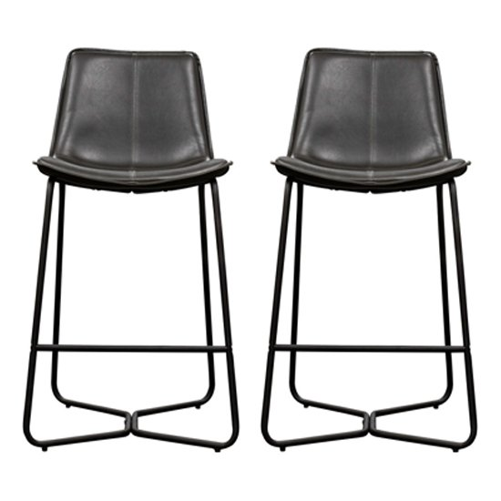 Hawking Charcoal Leather Bar Stool In Pair