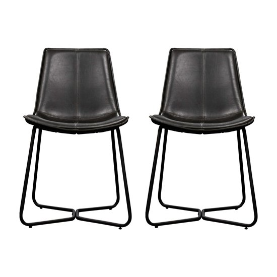 Hawking Charcoal Leather Bistro Chair In Pair