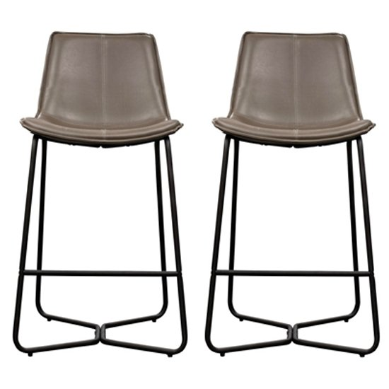 Hawking Ember Leather Bar Stool In Pair