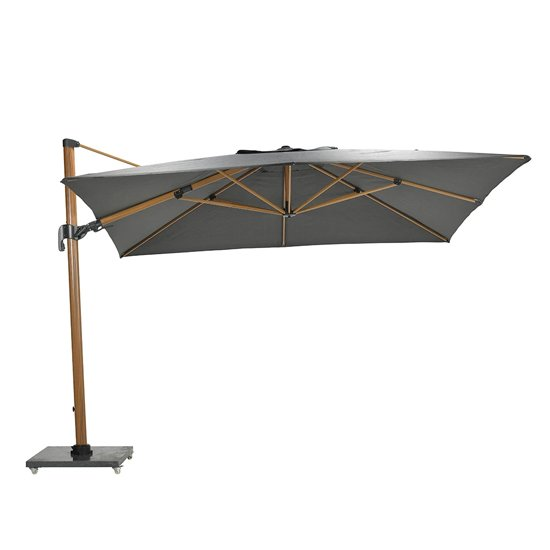 Hawo Deluxe Cantilever Parasol And Granite Base In Teak Effect_2