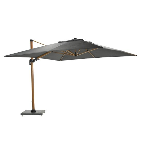Hawo Deluxe Cantilever Parasol And Granite Base In Teak Effect_3