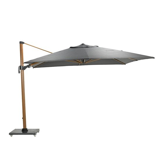 Hawo Deluxe Cantilever Parasol And Granite Base In Teak Effect_4