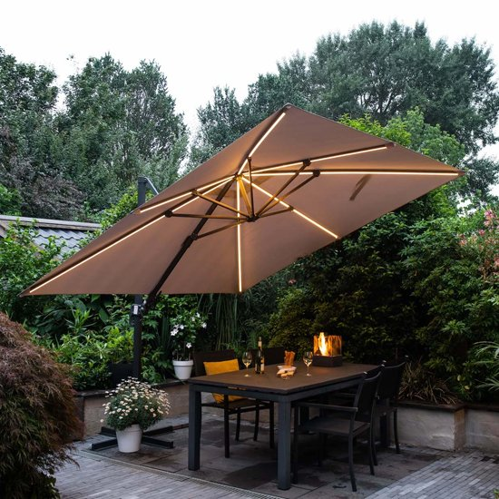 Hawo Lumen LED Square Cantilever Parasol In Dark Grey