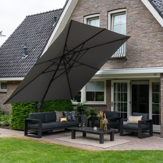 Hawo Square King Cantilever Parasol With Granite Base In Grey