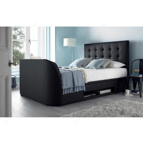 Hayden Ottoman Double TV Bed In Black Bonded Leather 34292