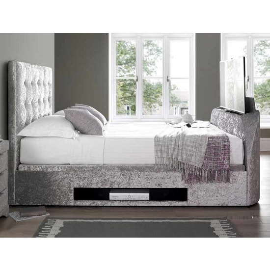 Hayden Ottoman Super King TV Bed In Crushed Velvet Silver