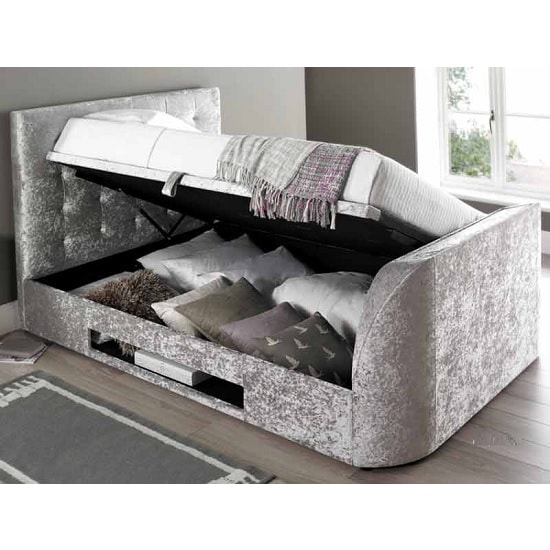 Hayden Ottoman Super King TV Bed In Crushed Velvet Silver_2