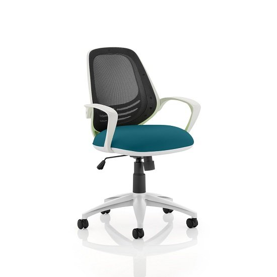 Haydon Office Chair In Kingfisher With White Frame