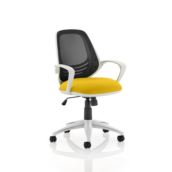 Haydon Office Chair In Yellow With White Frame