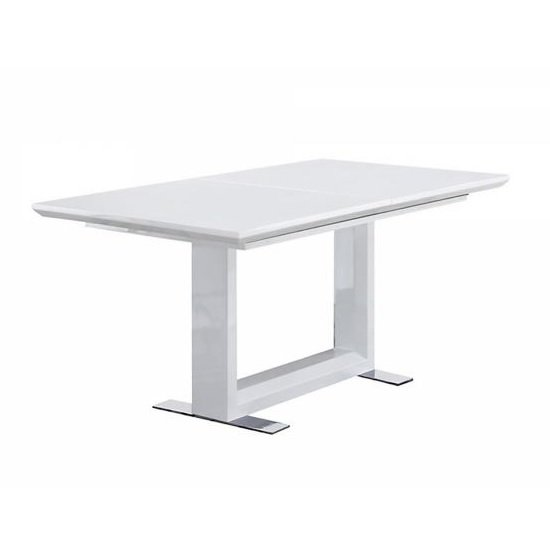 Hayley Extendable Dining Table Rectangular In White High Gloss