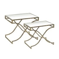 Hayley Glass Nest of Tables In Clear With Metal Frame