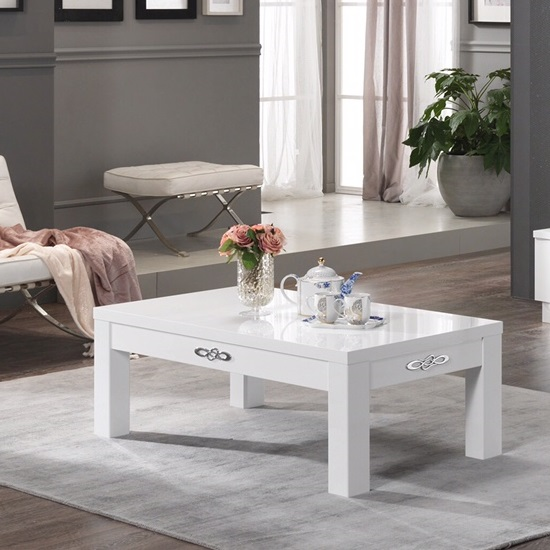 Hazel Coffee Table Rectangular In White High Gloss