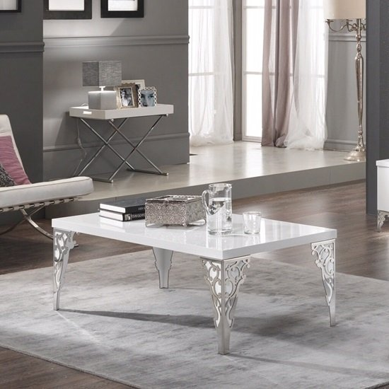 Hazel Coffee Table Rectangular In White Gloss With Chrome Legs