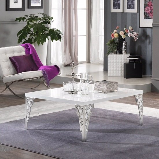 Hazel Coffee Table Square In White High Gloss With Chrome Legs