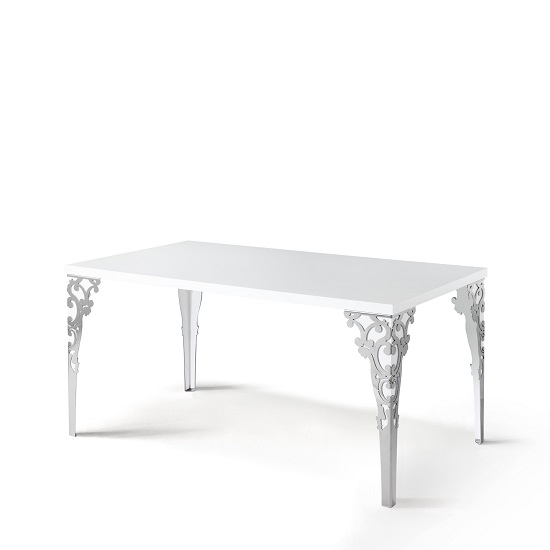 Hazel Dining Table Rectangular In White Gloss With Chrome Legs