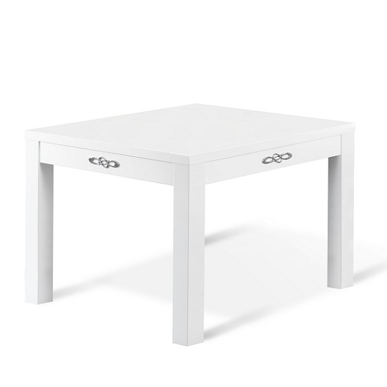 Hazel Dining Table Square In White High Gloss