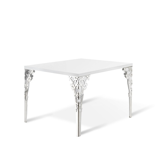 Hazel Dining Table Square In White High Gloss With Chrome Legs