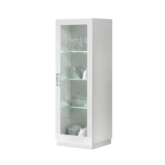 Hazel Display Cabinet In White Gloss With Flat Base And LED