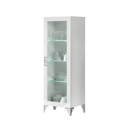Hazel Display Cabinet In White Gloss With Chrome Legs And LED