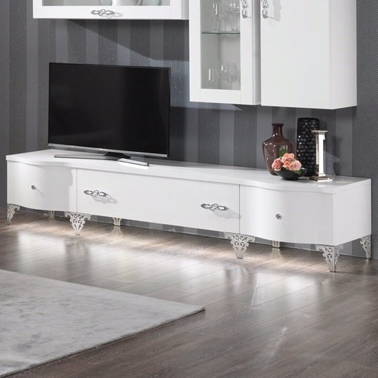 Hazel TV Stand Large In White Gloss With Chrome Legs And LED