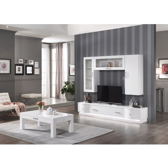 Hazel tv stand large in white gloss with flat base and led for Ensemble salon complet