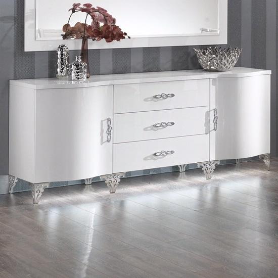 Hazel Modern Sideboard In White High Gloss With Chrome Legs