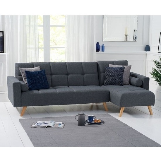 Headen Linen Right Hand Facing Chaise In Grey With Wood Legs