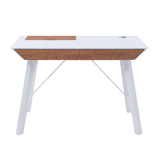Healey Computer Desk In Matt White And Wild Oak With Metal Legs
