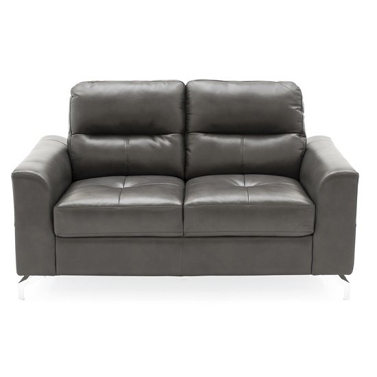 Image of Healy 2 Seater Sofa In Grey Faux Leather With Chrome Legs